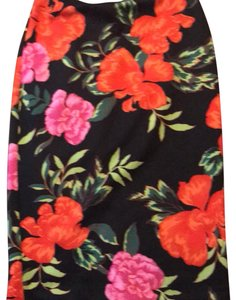 Express Floral Polyester Pencil Pencil Skirt multi