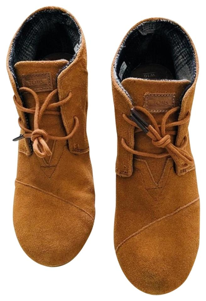 9101b966e92 TOMS Brown Ankle Neutral Suede Desert Wedge Boots Booties Size US 10 ...