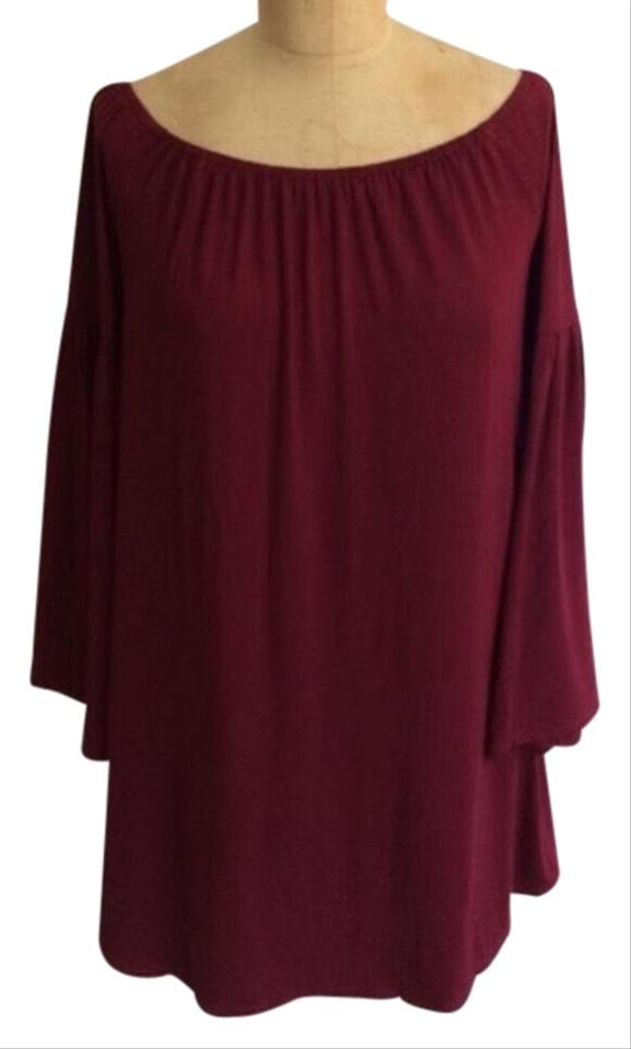 31940e32a6a Urban Outfitters Red Maroon Off The Shoulder Bellsleeve Short Casual Dress