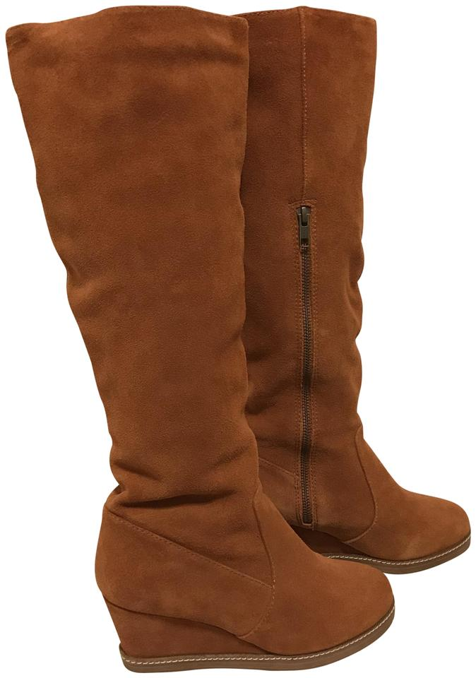 f1c9e9b5b6ac Soft Surroundings Brown Orange Suede Tall Wedge Boots Booties Size ...