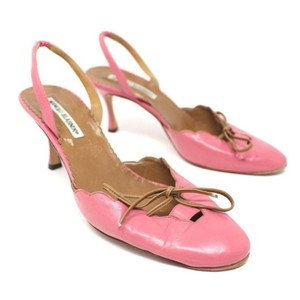 Manolo Blahnik Slingback Leather Heels Pink Pumps