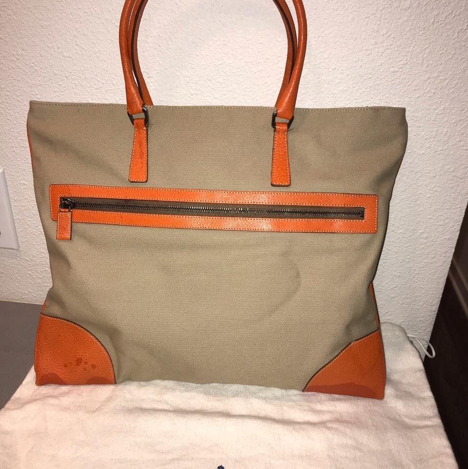 d4c02810c541 Prada Limited Edition Rare Orange Canvas and Leather Tote - Tradesy