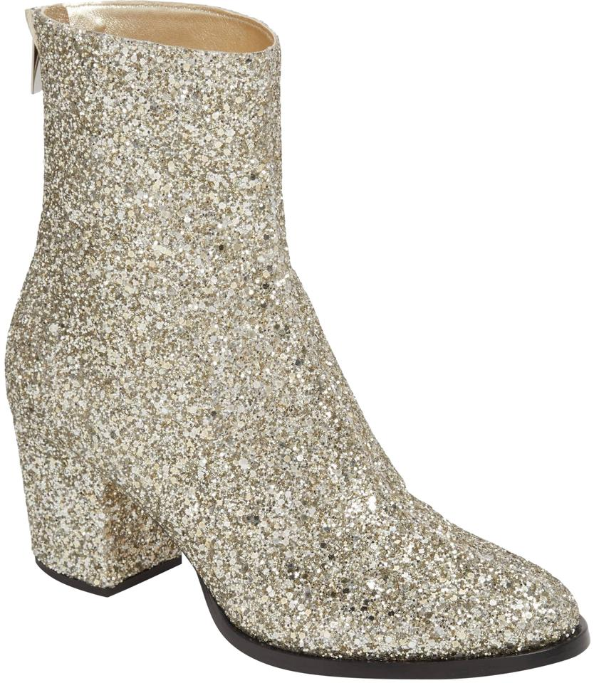 a8a330390085 Jimmy Choo Chai Glitter Easton Block Heel Boots Booties Size EU 36.5 ...