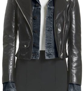 dde211f8f3 Alexander Wang Black Layered Denim and Leather Jacket Size 8 (M ...