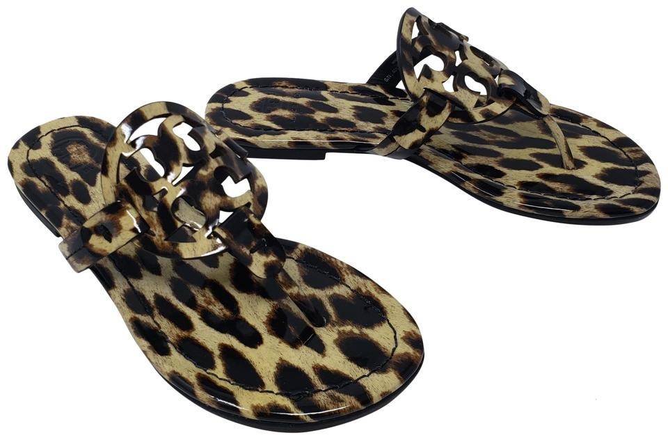 f51bdb706d4d60 Tory Burch Brown Leopard Print Patent Leather Miller Sandals. Size  US 5 ...