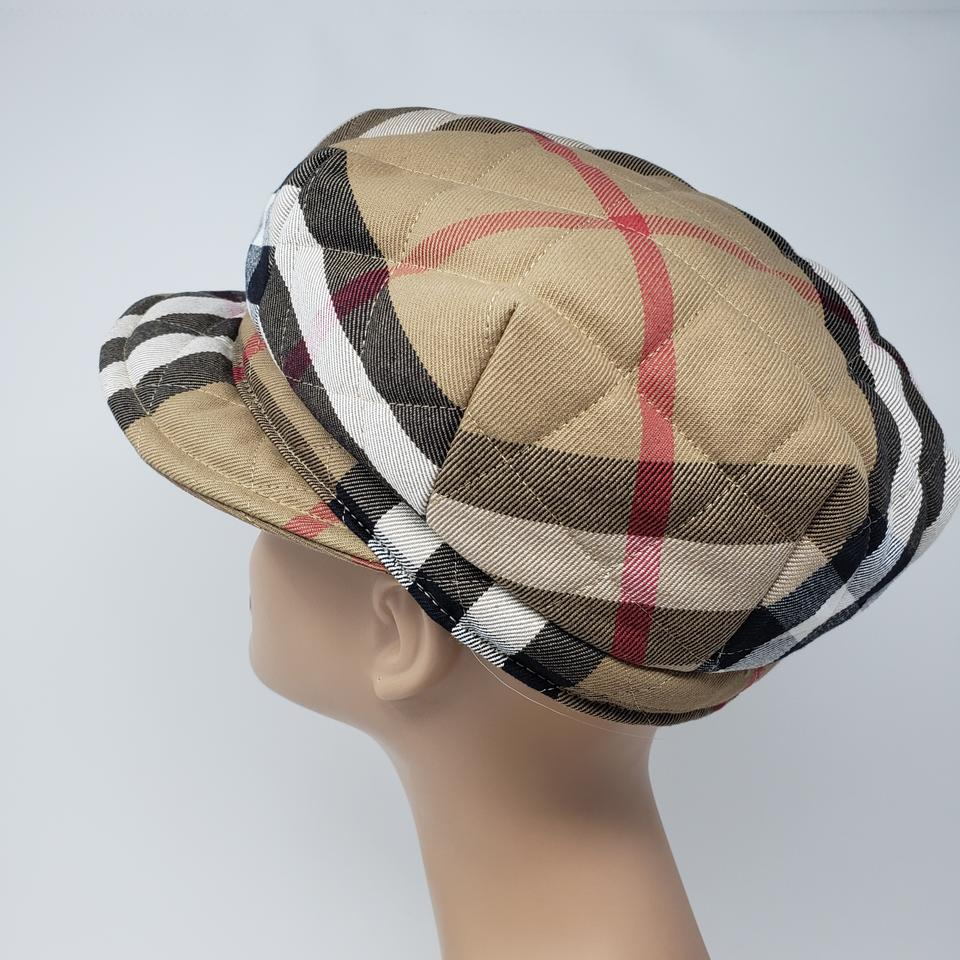 3720481c Burberry Brown Beige Multicolor Quilted London Nova Check Newsboy Cap Hat -  Tradesy
