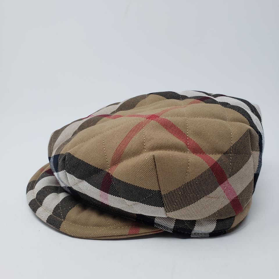 f0f5292ceab Burberry Beige multicolor quilted Burberry London Nova Check newsboy cap  Image 11. 123456789101112