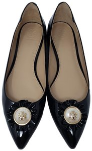 Tory Burch Pointed Toe Pearl Melody Reva Gold Hardware Black Flats