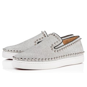 Christian Louboutin Sneaker Spiked Studded Pik Boat Silver Flats