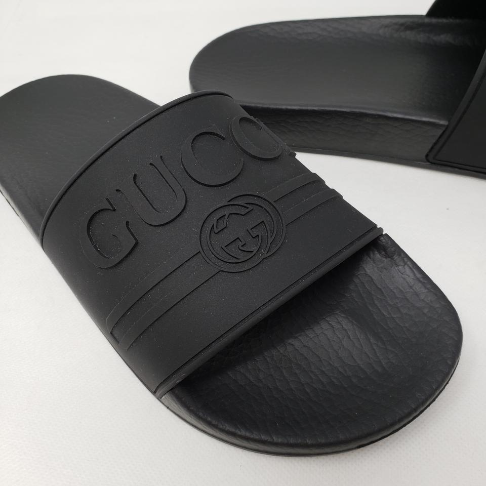 fab1f5de2 Gucci Black Rubber Logo Slide Sandals Size EU 37 (Approx. US 7) Regular (M,  B) - Tradesy