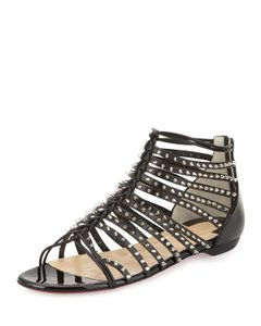 Christian Louboutin Silver Hardware Spike Patent Leather Cage Millaclous Black Sandals