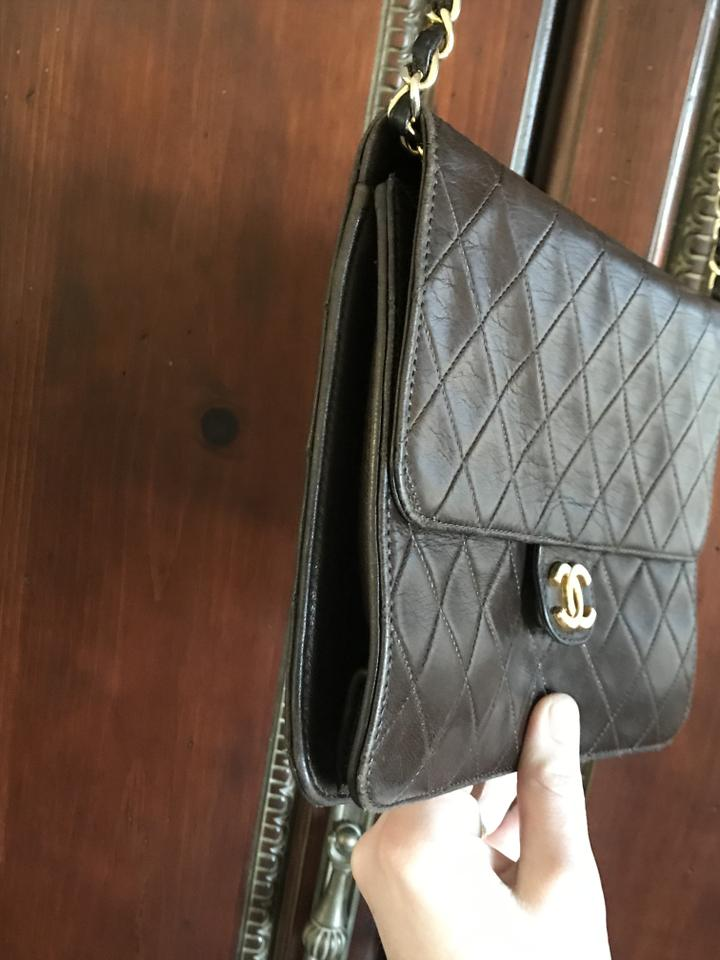 16f868b059a189 Chanel Classic Flap Rare Vintage Wild Stitch Brown Lambskin Leather Cross  Body Bag