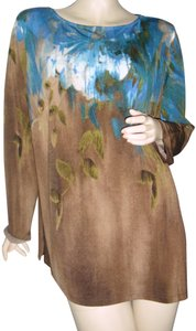 Bob Mackie Art To Wear Splash Of Colors Fading Watercolors Top turquoise, brown,ombre,lapis lazuli blue