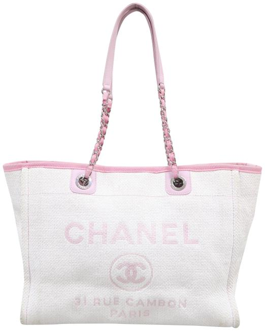 Item - Deauville Small Tote Pink Canvas Shoulder Bag