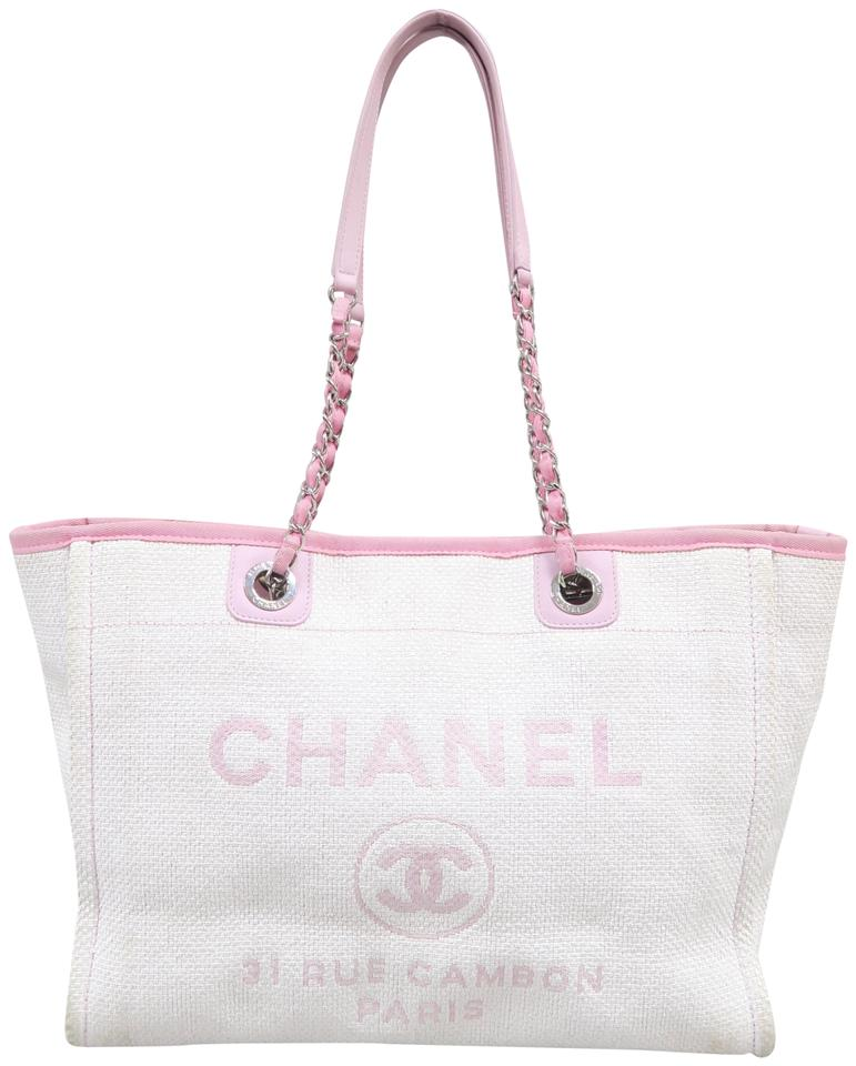 7a332dc81250 Chanel Deauville Small Tote Pink Canvas Shoulder Bag - Tradesy