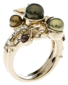 Chanel Chanel Star Comete Crystal Faux Pearl Gold Tone Ring Size 51