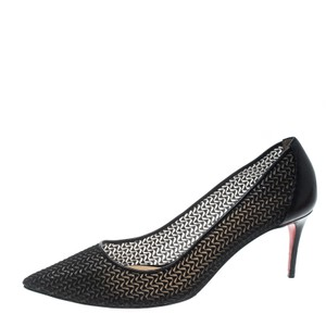 Christian Louboutin Mesh Pointed Toe Black Pumps