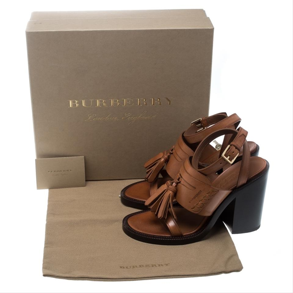 9cfb881896badc Burberry Brown Cognac Leather Bethany Tassel Detail Block Sandals ...