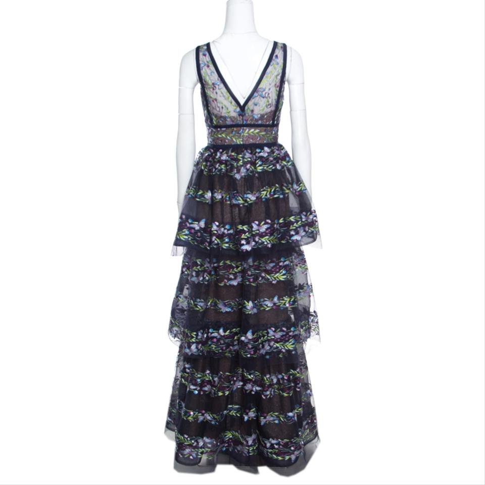 25abfa16 Marchesa Notte Navy Blue XS Tiered Floral and Butterfly Embroidered Evening  Gown Button-down Top