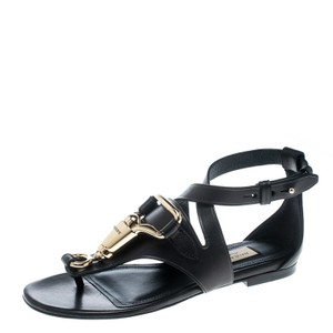 Burberry Leather Crisscross Strap Black Sandals