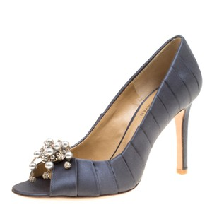 Valentino Pleated Satin Pearl Crystal Embellished Grey Pumps