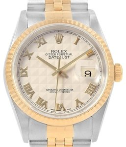 Rolex Rolex Datejust Steel Yellow Gold Ivory Pyramid Dial Mens Watch 16233