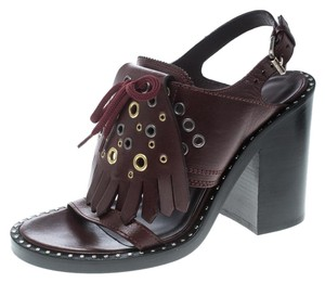 Burberry Detail Leather Burgundy Wedges