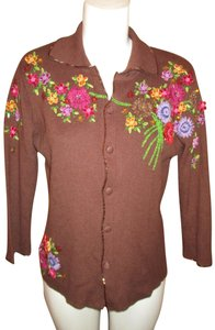 Just B Knit Vintage Embroidered Beaded 001 Cardigan
