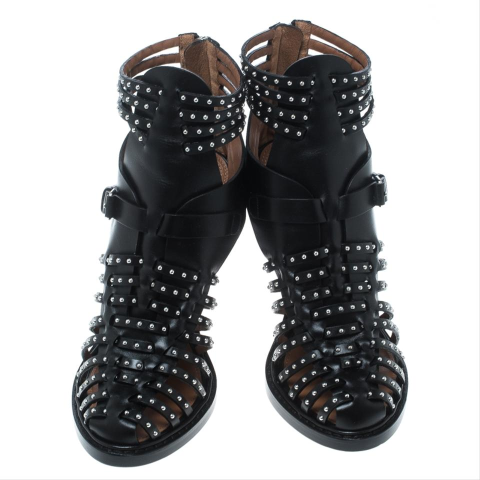 b3ed7ed07bb Givenchy Black Leather Studded Gladiator Sandals Pumps Size EU 39 ...