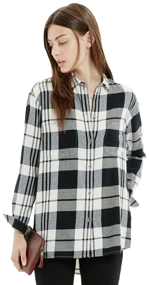 9165869c3687e2 Madewell Plaid Flannel Checkered Oversized Button Down Shirt blue and white  Image 0 ...