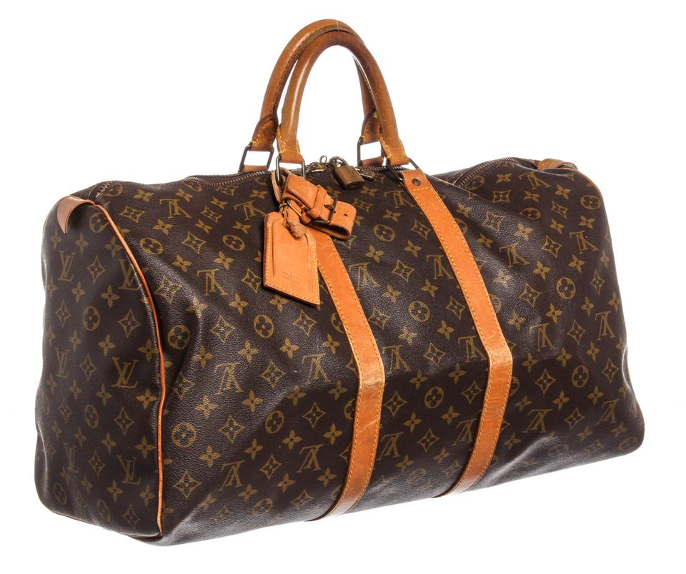 Louis Vuitton Duffle Keepall Monogram 50 Cm Luggage Brown Coated ... ec4a458269