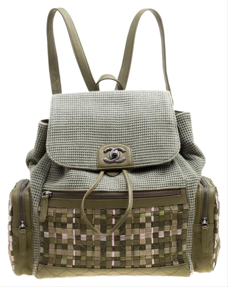 212799803b Chanel Backpack Khaki and Leather Cuba Pocket Green Canvas Backpack ...