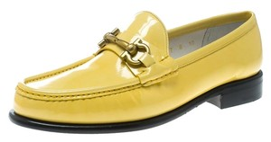 Salvatore Ferragamo Patent Leather Leather Yellow Flats