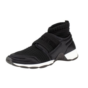 Chanel Trainer Sneaker Lace Up Suede Silver Black Athletic
