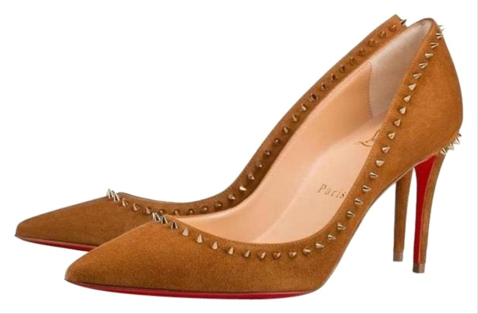 Christian Louboutin Beige Anjalina Camel Suede Spike Stiletto Pumps ... 06c217ad71f