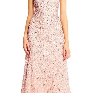 Adrianna Papell Blush Sequin Scoop Back Gown Formal Bridesmaid/Mob Dress Size 0 (XS)