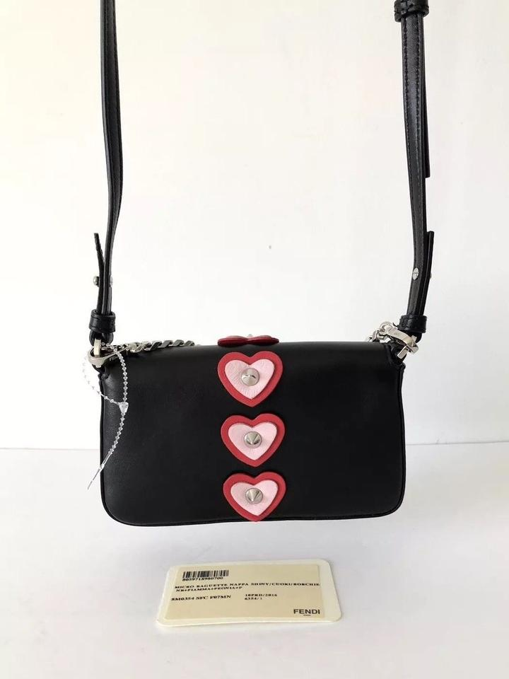1309f44fc018 Fendi Micro Mini Heart Appliqué Cross Body In Black Nappa Leather Baguette  - Tradesy