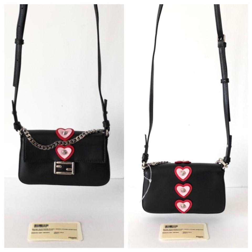 b17e1e2207ad Fendi Micro Mini Heart Appliqué Cross Body In Black Nappa Leather ...