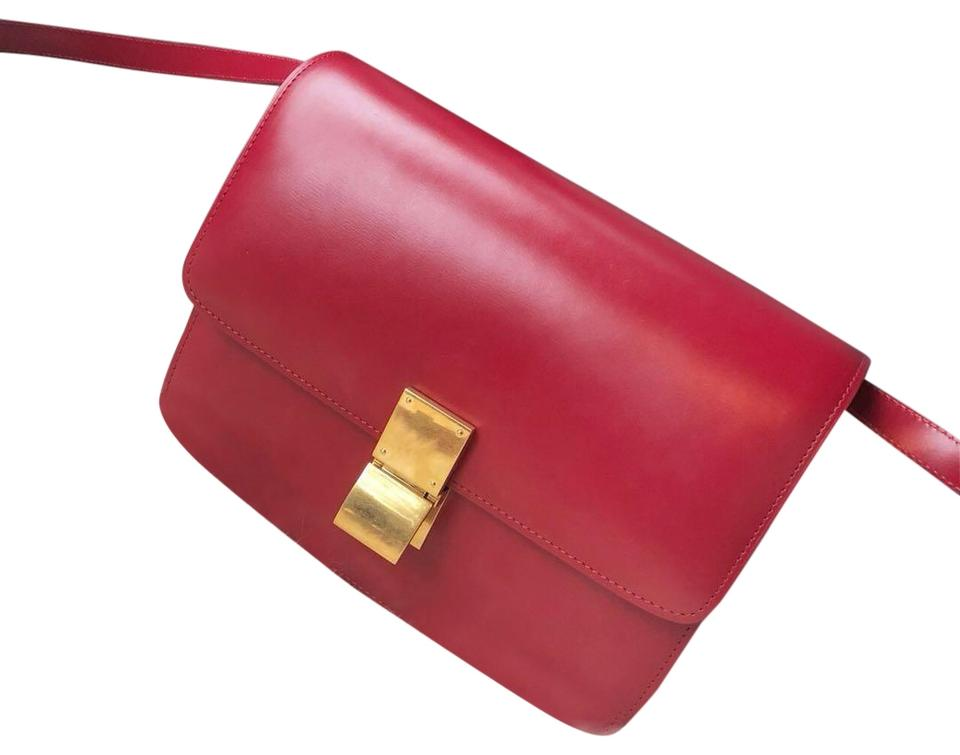 Céline Classic Box Medium Classical Red Calfskin Leather Cross Body ... dbcce1d1ae