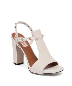 Valentino Studded Ankle Strap Open Toe Block Heel Made In Italy ivory Sandals
