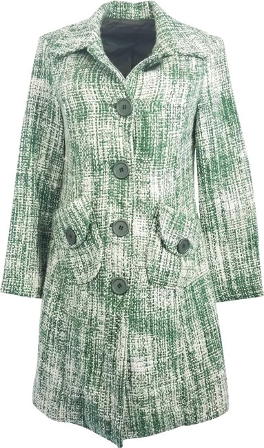 Green Tweed Single Breasted Coat Size 12 (L) Green Tweed Single Breasted Coat Size 12 (L) Image 1