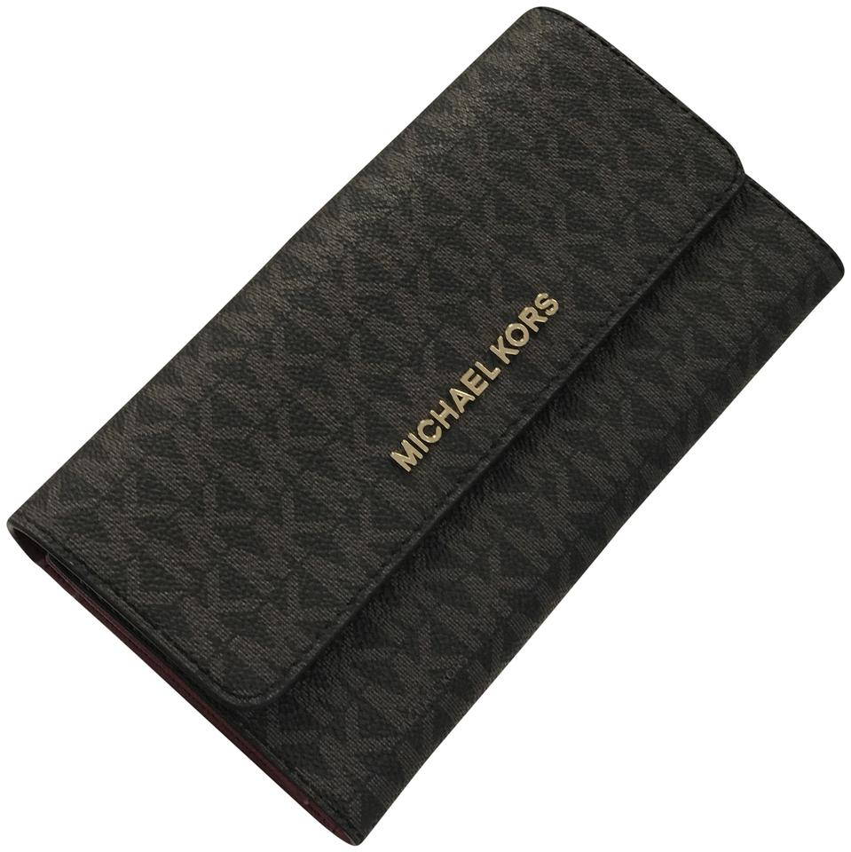 97443a22b225 Michael Kors Jet Set Travel Large Trifold Wallet Brown Mulberry ...