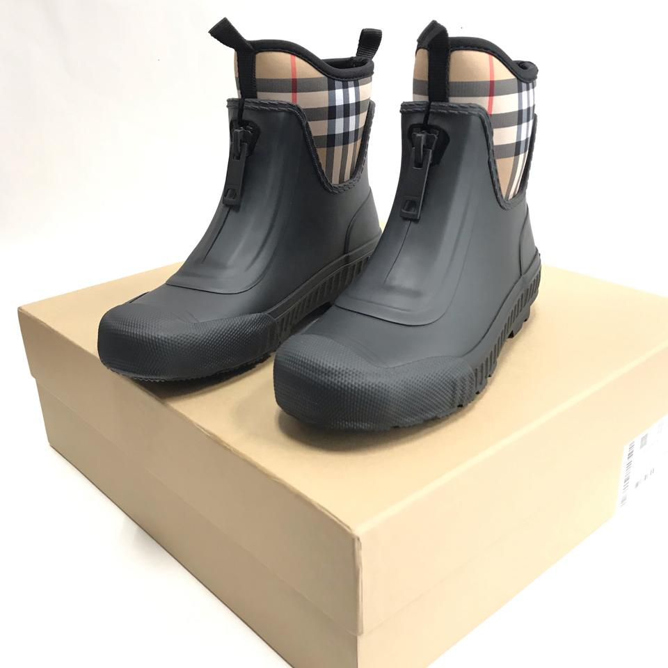 937ca5727 Burberry Black Check Vintage Neoprene and Rubber Rain Eur Boots ...