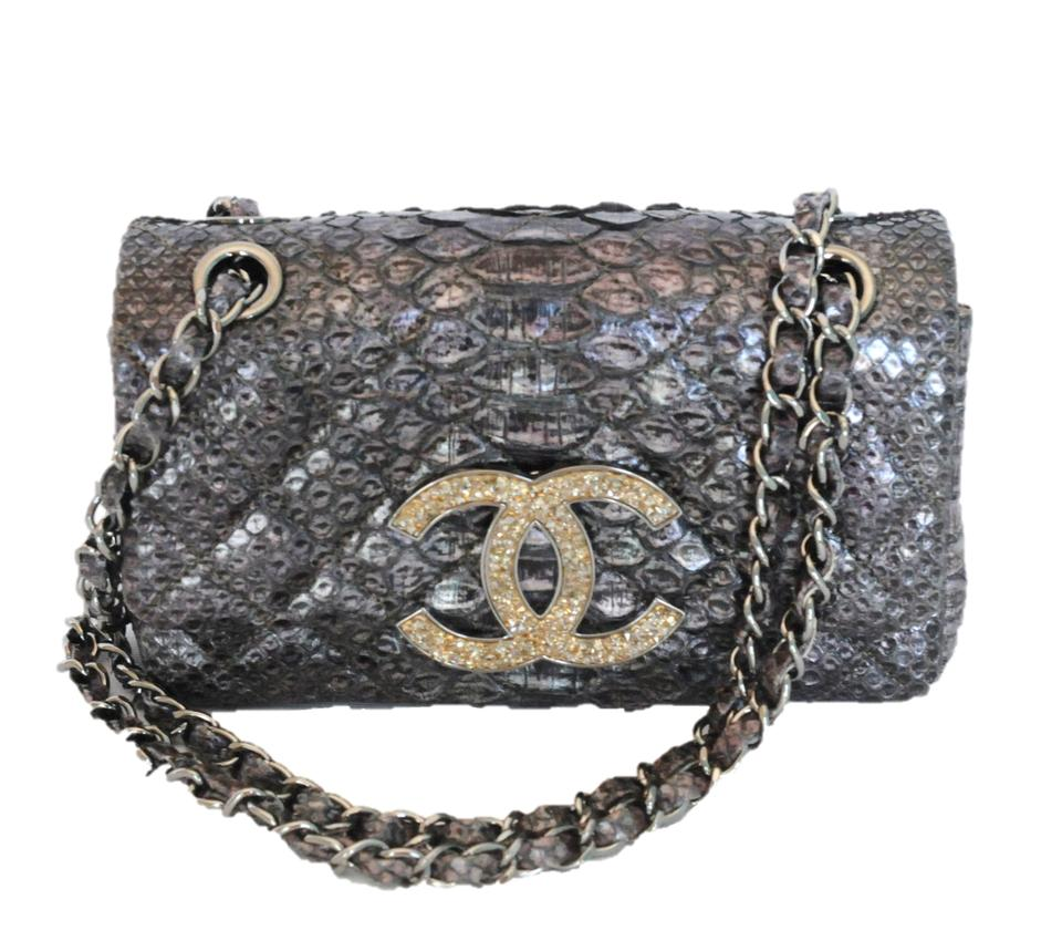 350270dd90f7 Chanel Classic Flap Small Crystal Cc 2011 Grey Python Shoulder Bag ...