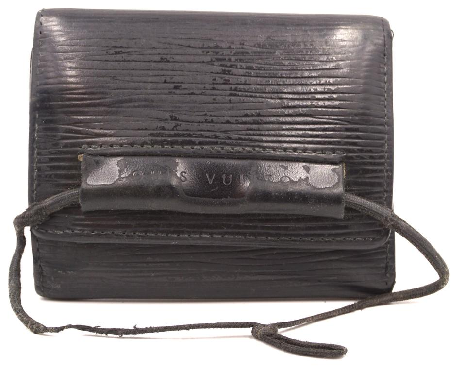 52710acd94ba7 Louis Vuitton #26457 Black Epi Leather Triifold Compact Id Card Holder  Wallet