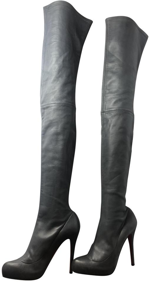 f2e10dd43cf7 Christian Louboutin Gray Monica Leather Thigh-high Over Knee Boots/Booties