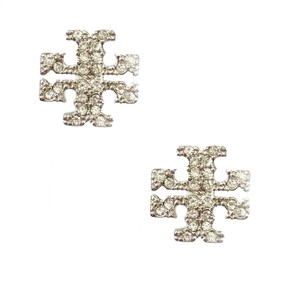 Tory Burch Brand New Tory Burch Crystal Pave SILVER Small T-Logo Stud Earrings