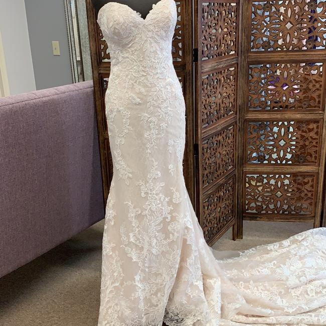 Martina Liana Ivory/Stone/Cafe Lace 859 Feminine Wedding Dress Size 14 (L) Martina Liana Ivory/Stone/Cafe Lace 859 Feminine Wedding Dress Size 14 (L) Image 1