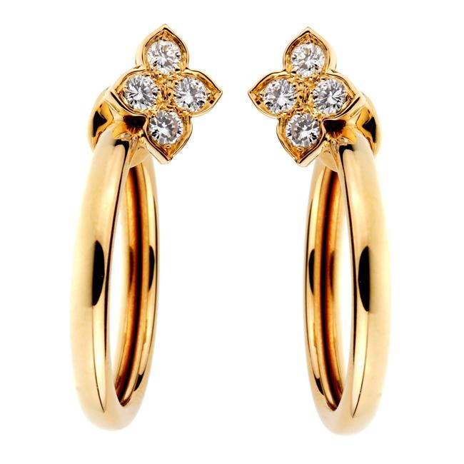 Item - Yellow Flower Hoop Diamond Gold Earrings