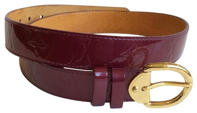 Item - Red/Amarante Vernis Leather with Brass Hardware and Buckle Closure. Belt